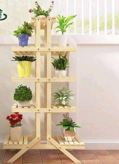 muebles de madera para macetas